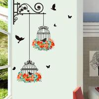 KE_ BL_ Birdcage Kids Room Bedroom Room Wall Sticker DIY Art Decals Home Decor