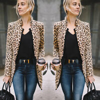 Casual Slim Solid Suit Blazer Jacket Coat Outwear Women Fashion Leopard Print
