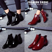 New Womens Ladies New Chelsea Chunky Block Heel Ankle Boots Casual Shoes Size
