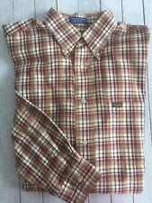 Men's Faconnable LS Button Shirt Cotton Tan Brown Red Plaid Large