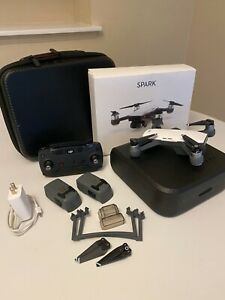 DJI Spark Drone Alpine White w Remote Controller & Extra Battery - Barely Used