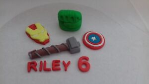 Marvel Heroes Themed  set Personalised Edible Cake Toppers Unofficial