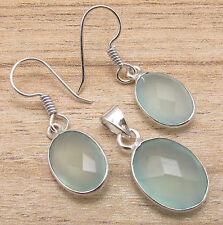 Silver Plated AQUA CHALCEDONY Earrings 1 1/4 Inches, Pendant 1 Inches MATCHING