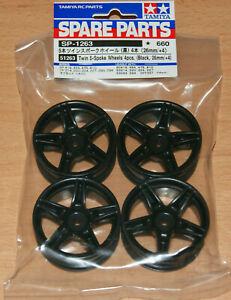 Tamiya 51263 Twin 5-Spoke Wheels 4 Pcs. (Black, 26mm/+4) (Ferrari FXX)