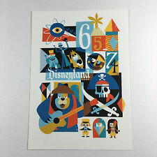 Disneyland 60th Anniversary Postcard Frameable Art Depiction of Parks 2nd Decade