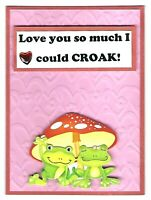 FROG LOVE COULD CROAK Anniversary or Love Greeting Card - Handmade with Saying