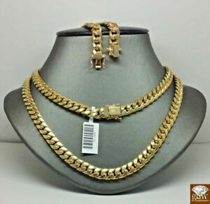 REAL 10K Yellow Gold Miami Cuban Link Chain Necklace 7mm 28 Inch.