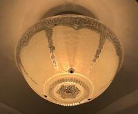 Vtg Art Deco Semi Flush Mount Glass Ceiling Light Fixture Ivory White 20s 30 40s