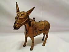 Old AC Williams Cast Iron Donkey Coin Still Bank Original Gold Paint