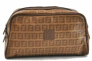 Authentic FENDI Zucchino Hand Pouch PVC Leather Brown 0655A
