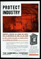 1937 Gamewell fire alarm box blaze photo vintage trade print ad