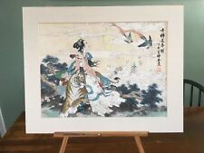 Vintage Asian Chinese Figure Tiger Long Tailed Birds Watercolor Painting