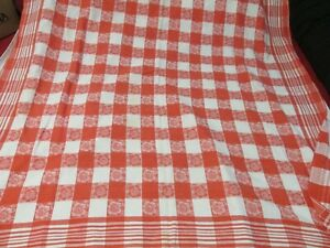 """Vintage Tablecloth Red White Check w/ Flowers Cutter 46"""" x 46"""""""