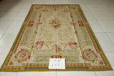 Vintage FRENCH COUNTRY Rose Floral Scroll Antique Aubusson Wool Rug Hand Woven