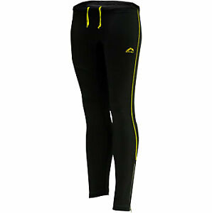 More Mile Reflective Mens Running Tights Black Yellow Exercise Sports Training