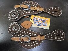 Silver Royal Midnight Run Spur Strap - Light Oil -Brown Suede Overlay - NWT-