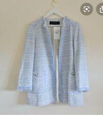 Zara Blue Long Tweed Blazer Jacket Size L UK14 Bnwt