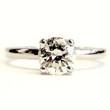 14kt White Gold Solitaire Engagement Ring 1.02 Cts Round Diamond
