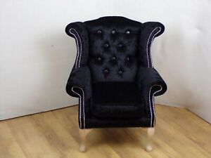 Child size  Queen Anne chair in Black crushed velvet