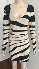 SASS & BIDE 'Animalia Shapes' Black Stretchy BodyCon Long Slv Mini Dress AU 10
