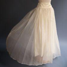 VTG Full Length Formal Wedding Gown Skirt Cream Satin Diaphanous Fairy Chiffon M