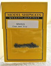 Model Shipways Fittings MS 0529. Steel Chain 20 Links Per Inch. 1 Ft Per Pack.
