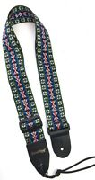 Guitar Strap BLUE RED YELLOW WOVEN NYLON For Acoustic & Electrics Made In USA