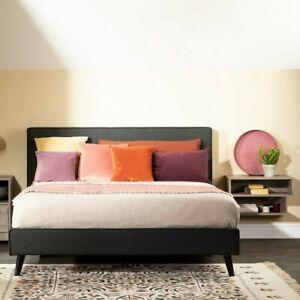 2 Piece Upholstered Gray Queen Platform Bed Set Floating Nightstand Bedroom