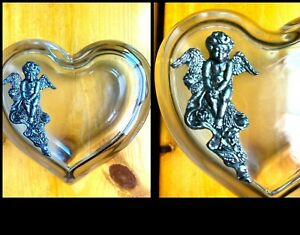 Heart Shaped Glass Trinket Box Silver Angel Jewelry Earring Container Storage