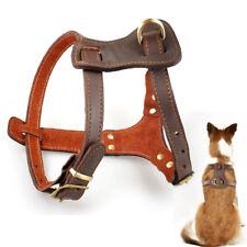 Adjustable Heavy Duty Leather Dog Harness Padded for Medium Large Dog Pit Bull