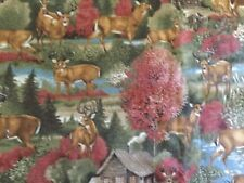 """CRANSTON PRINT WORKS FALL FABRIC DEER CABIN 44"""" WIDE BTY"""