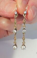 Antique 1900 era 14k Gold european cut SI diamond dangle earrings .90 carat ttl
