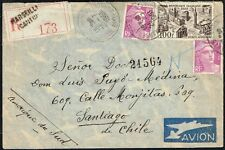 293 FRANCE TO CHILE REGISTERED AIR MAIL COVER 1951 MARSEILLE - SANTIAGO