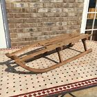 Antique Wooden Snow Sled Sleigh Winter Ice Coaster 44  Long Metal Blades Rustic