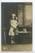 Cute RPPC Girl Bathing Little Brother in Wooden Bath Antique Euro Photo 1908