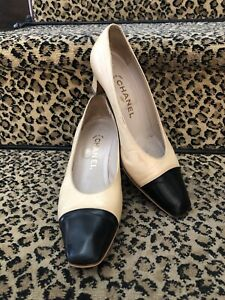 Chanel Classic Beige And Black Square Cap Toe Kitten Heel Pumps Size 37.5