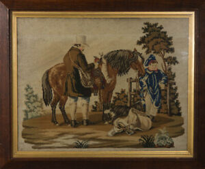 Late 19th Century Embroidery - Gentleman and Horse