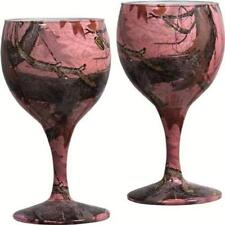 6536 River's Edge Rep094 Pink Camo Wine Glasses 2 pack Bachelorette Party Idea
