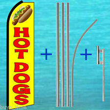 Hot Dogs Flutter Feather Flag + 15' Tall Pole + Mount Kit Swooper Banner Sign