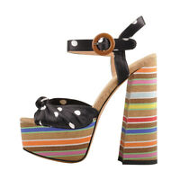 Onlymaker Women's Polka Dot Knot Bow Strappy Chunky High Heel Slingback Sandals