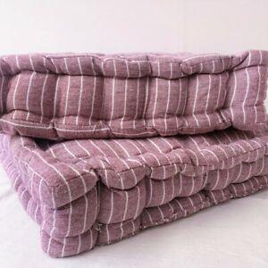 Mauve Chalk Stripe Floor Cushion | Luxury Cotton Large Chair Garden Seat Pad