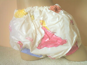 Pretty PVC Diaper Cover Princess Print Plastic Pants Vinyl Knickers 3XL     AB