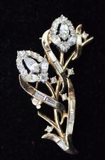 Vintage 1953 Signed TRIFARI CROWN Pat #170,209 Goldtone Rhinestones Pin Brooch