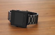 Black Stainless Steel Watch Band Metal Wristband For Garmin vivoactive+link tool