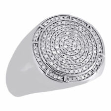 10K White Gold Mens Round Diamond Statement Pinky Ring 18mm Domed Top 0.57 Ct.