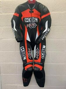 """RST Pro Series One Piece Leather Motorcycle Suit Olsen No.11 40"""" Chest Flo Red"""