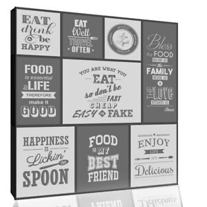 Grey Kitchen Quotes Collage Canvas Wall Art Picture Print