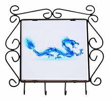 Blue Flame Dragon Wrought Iron Key Holder Hooks Christmas Gift, DRAG-4KH