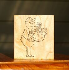 Special Delivery Stork Baby Wood Mounted Rubber Stamp by JRL Design # 6002