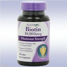 NATROL BIOTIN 10000 MCG MAXIMUM STRENGTH (100 TABLETS) b vitamin hair skin nails